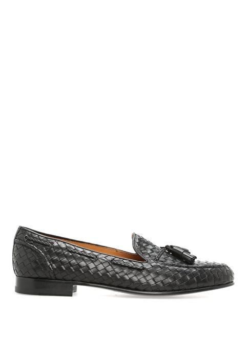 Bow Tie %100 Deri Loafer Ayakkabı Siyah